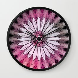 Poly Pink Daisy Kaleidoscope Wall Clock