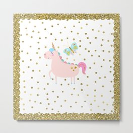 Pink & Gold Glitter Unicorn Metal Print