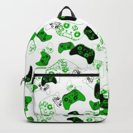 Video Game White and Green Backpack
