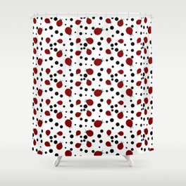 Ladybugs and Black Dots Shower Curtain