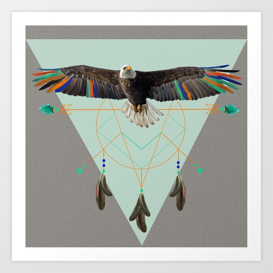 The indian eagle is watching over Po's dreamcatcher Art Print