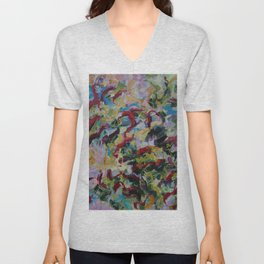 Unchained: Bold and Colorful Orginal painting Unisex V-Neck