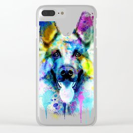 German Shepherd Watercolor, Watercolor Dog print, German Shepherd Print, German Shepherd Art Clear iPhone Case