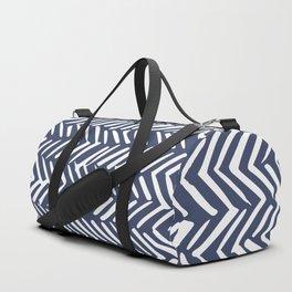 Boho Herringbone Pattern, Navy Blue and White Duffle Bag