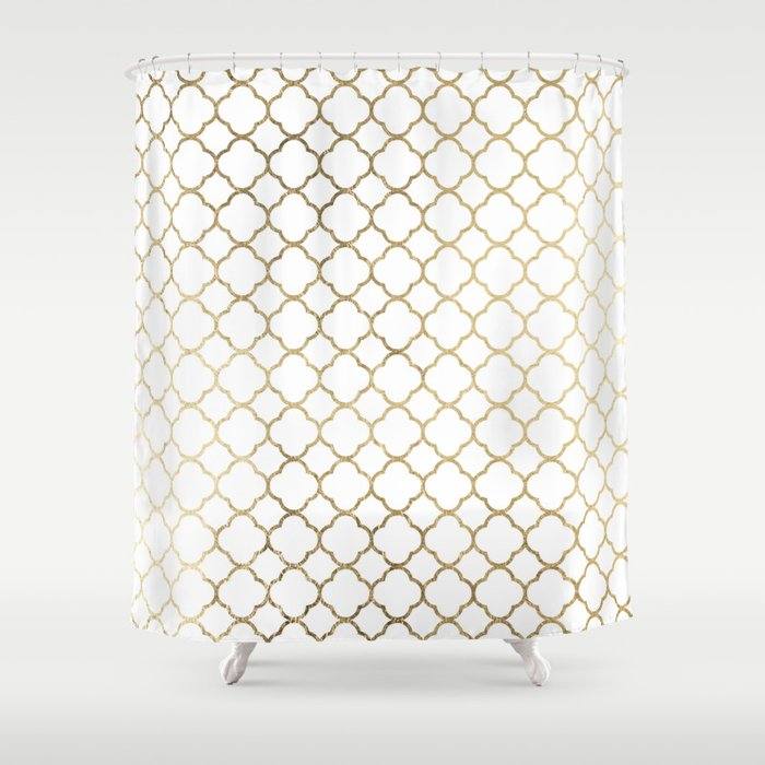 Elegant Stylish White Faux Gold Quatrefoil Shower Curtain By Pink Water
