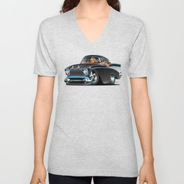 Classic hot rod fifties muscle car with cool couple cartoon Unisex V-Neck