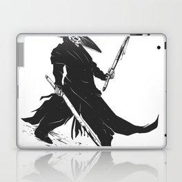 Samurai skull - japanese evil - black and white - fighter illustration - grim reaper cartoon Laptop & iPad Skin