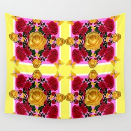 RED-YELLOW ROSES & YELLOW BUTTERFLIES ART Wall Tapestry