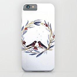 Winter Wreath Love Birds iPhone Case