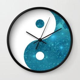 Blue Yin Yang symbol Wall Clock