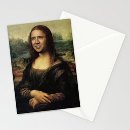 Nicholas Cage Mona Lisa face swap Stationery Cards