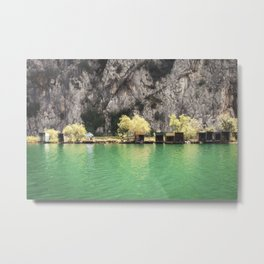 Fishing huts on the banks of the river Cetina near town of Omis ,Croatia Metal Print