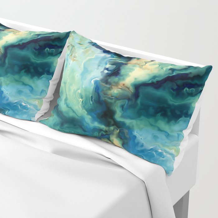 Marbled Ocean Abstract, Navy, Blue, Teal, Green Kissenbezug