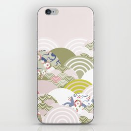 scales simple Nature background with japanese sakura flower, rosy pink Cherry, wave circle pattern iPhone Skin