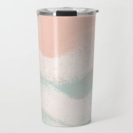 Sea Breeze Pastel Coral & Turquoise _Abstract Horizon geometric art Travel Mug