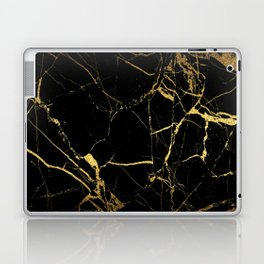 Black Gold Marble - Abstract, textured, marble pattern Laptop & iPad Skin