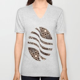 Brown and Silver Floral Pattern Unisex V-Neck