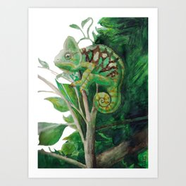Chameleon in Watercolour Art Print