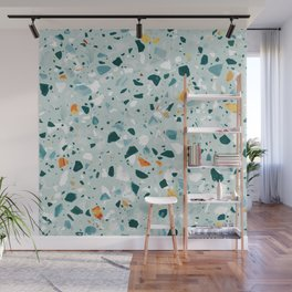 Mint Terrazzo, Eclectic Marble Texture Pattern, Colorful Neutral Pastel Illustration, Floor Tiles Wall Mural