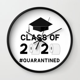 Class of 2020 quarantined funny lettering with toilet paper and graduation cap.  Wall Clock