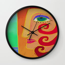 Going to the Beach Abstract Digital Painting Wall Clock
