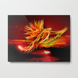 Phoenix Bird Fire Metal Print