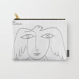 picasso bird girl line art abstract animals, unified bird and woman, world war art Carry-All Pouch