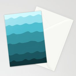 Sea Waves Gradient Abstract in Aqua Blue  Stationery Cards