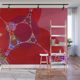 chantal - bright pink abstract design with red white and blue Wall Mural