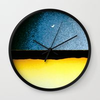 moon phase Wall Clocks featuring New Moon - Phase I by Marina Kanavaki