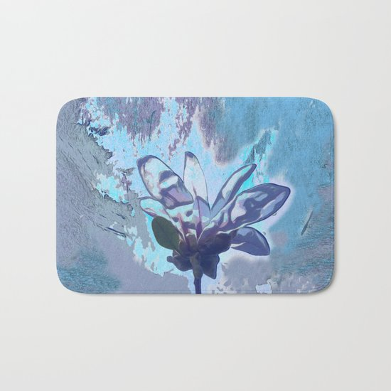 Blue flower fantasy Bath Mat