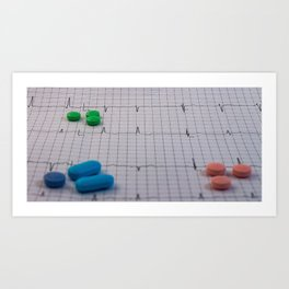 Drugs in the form of colored medicines. Art Print