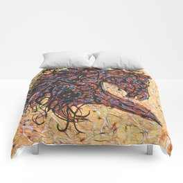 Abstract Horse Digital Ink Pollock Style Comforters