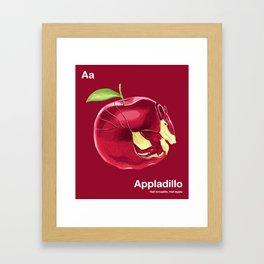 Aa - Appladillo // Half Armadillo, Half Apple Framed Art Print