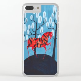 Smug red horse Clear iPhone Case