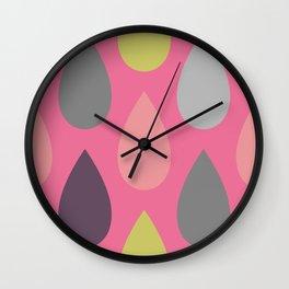 Pink Drops Wall Clock