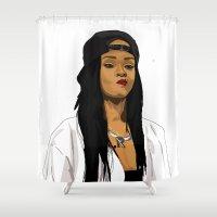 rihanna Shower Curtains featuring Rihanna by MikeHanz