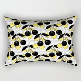 Black and yellow pattern . Cherry . Rectangular Pillow