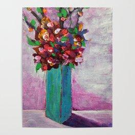 Teal vase Poster