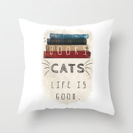 Books and cats design Throw Pillow