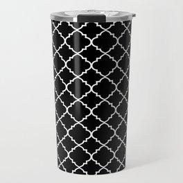 Black and White Moroccan Quatrefoil Travel Mug