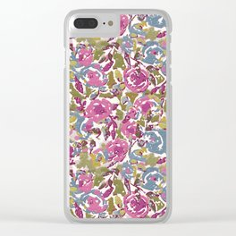 Painted Abstract Florals Clear iPhone Case