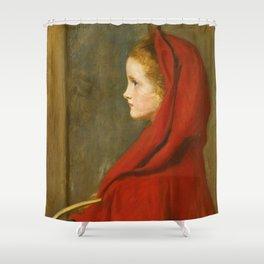 """John Everett Millais """"Red Riding Hood (A Portrait of Effie Millais, the artist's daughter)"""" Shower Curtain"""