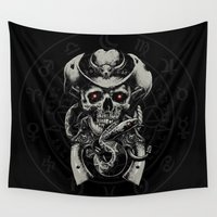cowboy Wall Tapestries featuring Skull Cowboy by DavinciArt