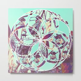 Los Angeles Ferris Wheel Abstract Mosaic Metal Print