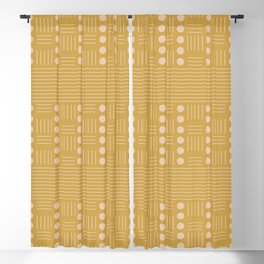 Lines and Circle in Mustard Blackout Curtain