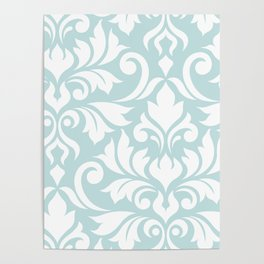 Flourish Damask Art I White on Duck Egg Blue Poster