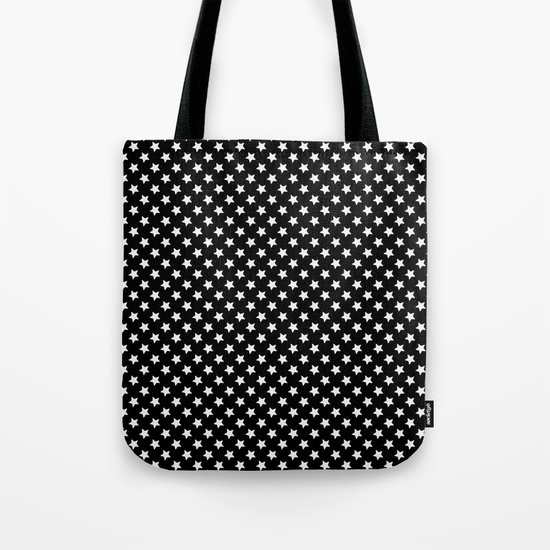 White Stars on Black Tote Bag