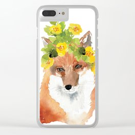 fox with flower crown Clear iPhone Case