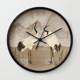 Wintering Manchurian Cranes Wall Clock